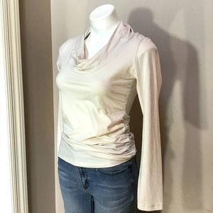 Cabi Cream Twist Neck Ruched Long-sleeve Top S